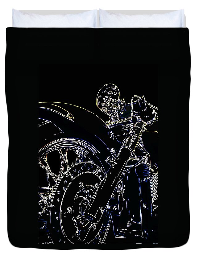 Motorcycle Duvet Cover featuring the digital art Reflections IIi by Ricky Barnard