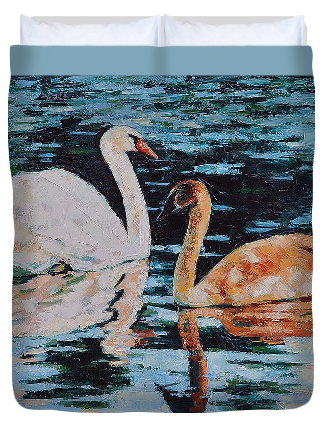 Blue Duvet Cover featuring the painting Reflections by Iliyan Bozhanov