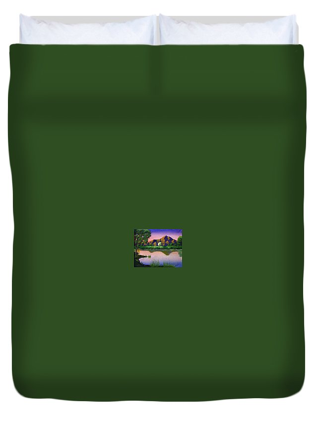 Landscape Duvet Cover featuring the painting Reflections In The Breeze by Dawn Blair
