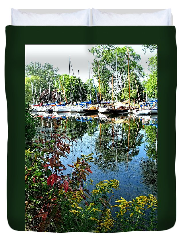 Flowers Duvet Cover featuring the photograph Reflections In The Pool by Ian MacDonald