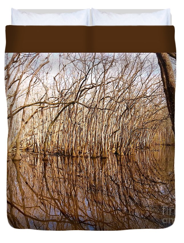 Trees Duvet Cover featuring the photograph Reflections In The Swamp by Jennifer Capo