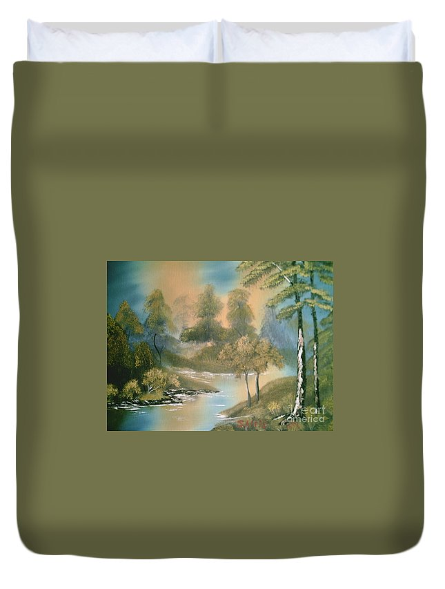 Trees Duvet Cover featuring the painting Reflections by Jim Saltis