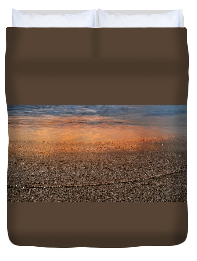 Beach Duvet Cover featuring the photograph Reflections by Michael Peychich