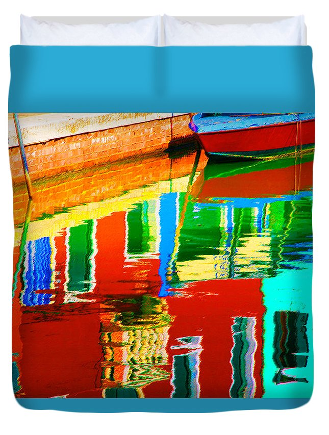 Abstract Duvet Cover featuring the pastel Reflections Near The Red Hull by Donna Corless