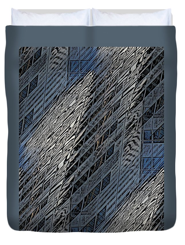 Reflections Duvet Cover featuring the digital art Reflections Of A City 4 by Tim Allen