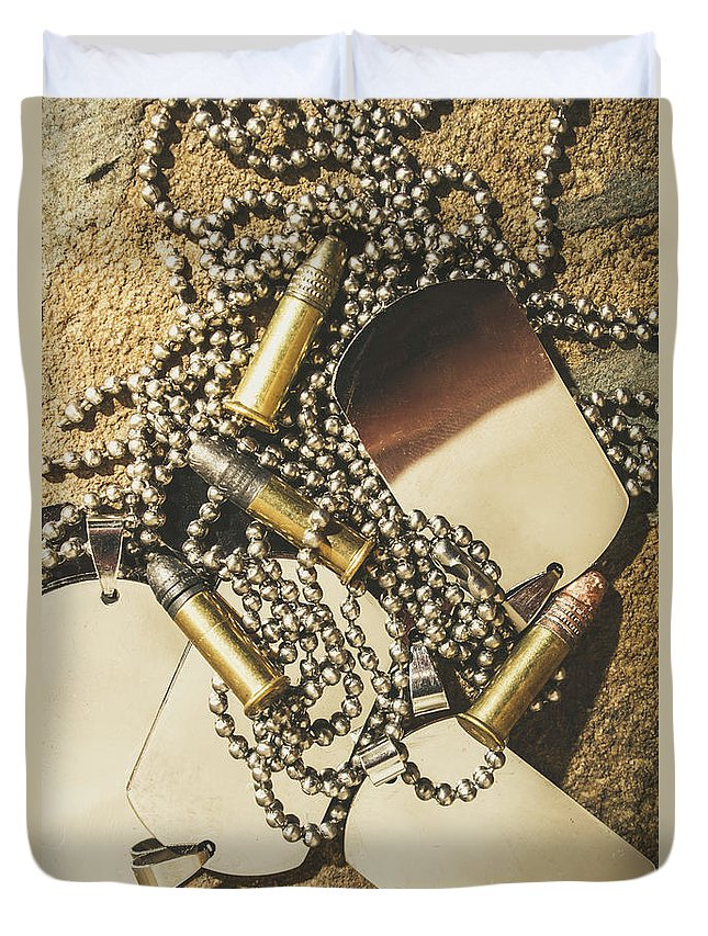Dog Tag Duvet Cover featuring the photograph Reflections Of Battle by Jorgo Photography - Wall Art Gallery