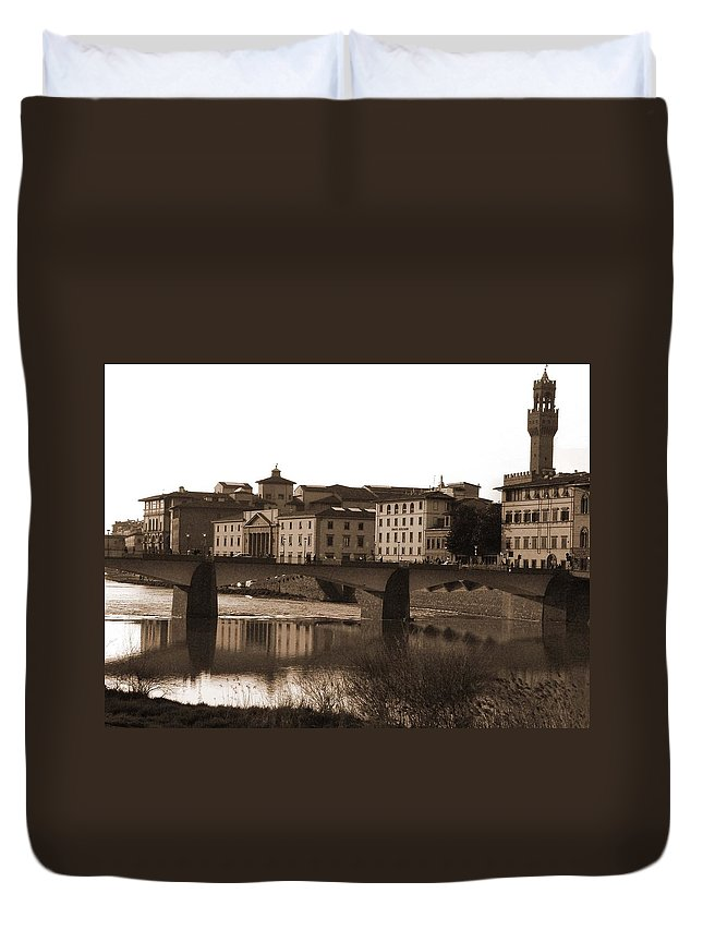 Sepia Duvet Cover featuring the photograph Reflections Of Florence by Donna Corless
