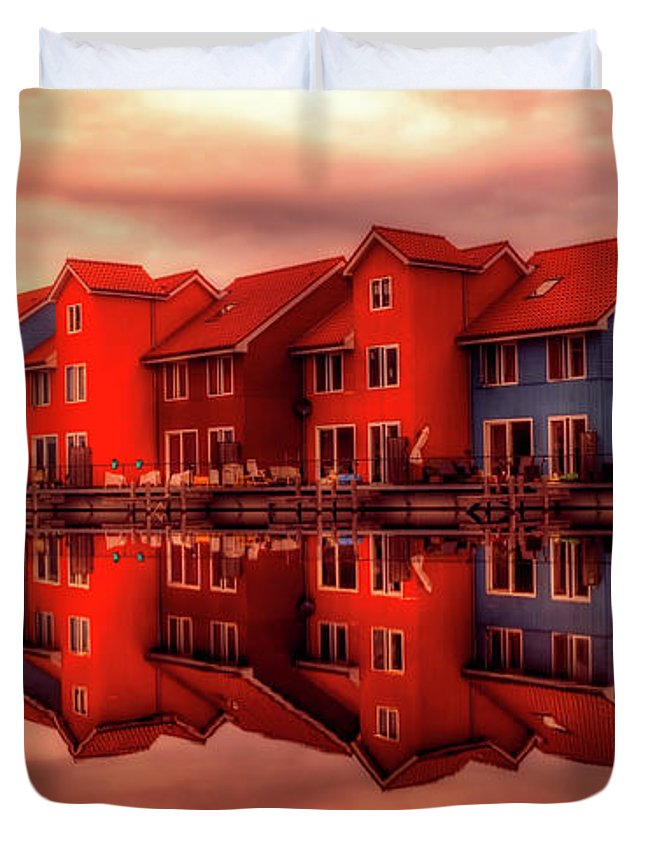 Groningen Duvet Cover featuring the photograph Reflections Of Groningen by Skitterphoto