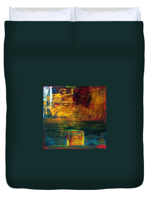 New York City Reflection Red Yellow Blue Green Duvet Cover featuring the painting Reflections Of New York by Jack Diamond