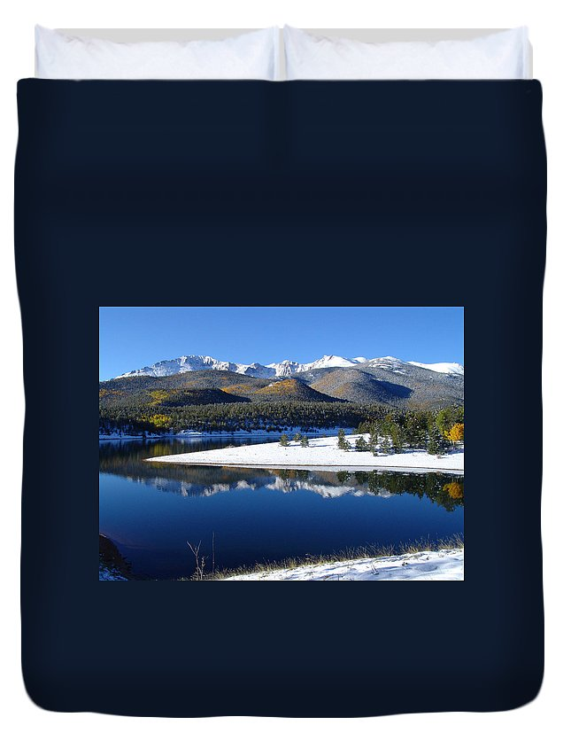 Landscape Duvet Cover featuring the photograph Reflections Of Pikes Peak In Crystal Reservoir by Carol Milisen