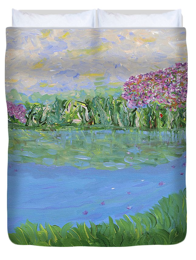 Landscape Duvet Cover featuring the painting Reflections Of by Sara Credito