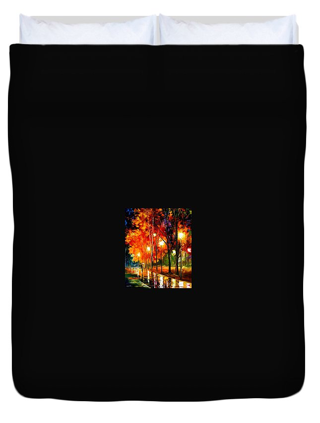 Afremov Duvet Cover featuring the painting Reflections Of The Night by Leonid Afremov