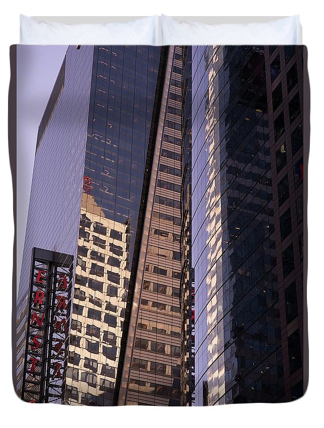 Reflections Duvet Cover featuring the photograph Reflections Off The Buildings by Roland Hall