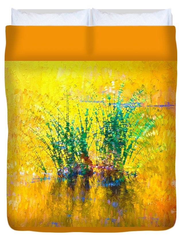 Plant Duvet Cover featuring the digital art Reflections On The Lake by Nabil REJAIBI