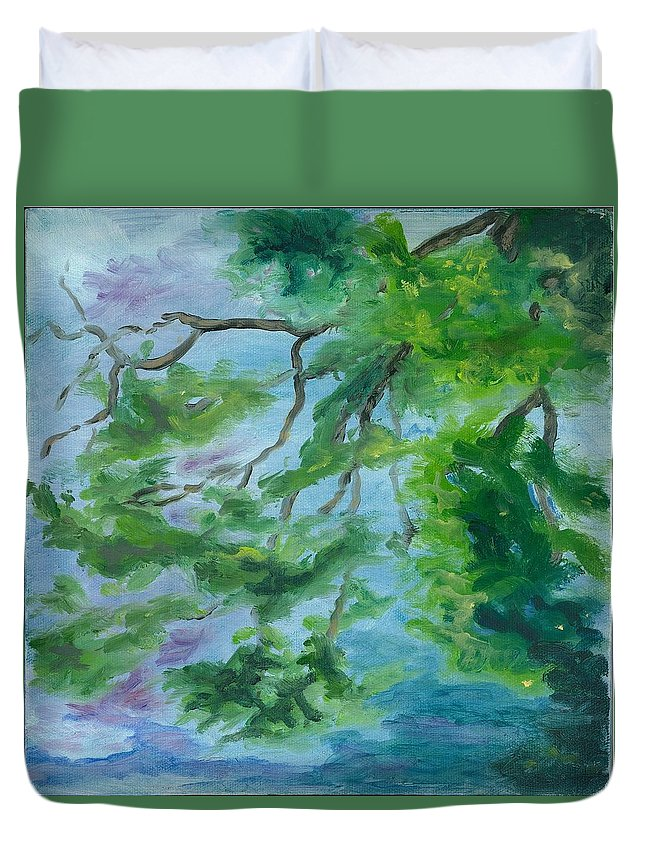Reflections Duvet Cover featuring the painting Reflections On The Mill Pond by Paula Emery