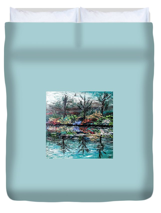 Woods Duvet Cover featuring the painting Reflections by Valerie Josi