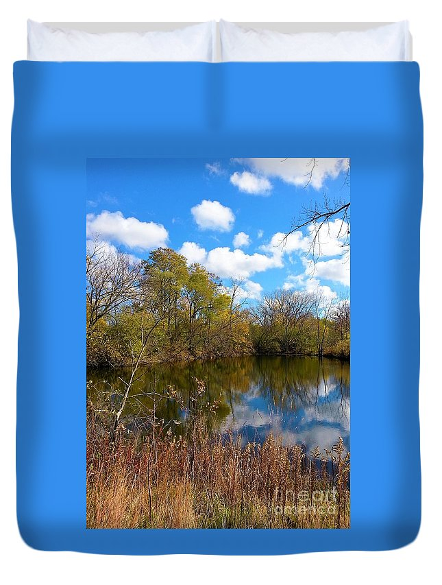 Colored Grasses Duvet Cover featuring the photograph Reflective Cloudy Palatine, Il, Library Pond by Jane Butera Borgardt