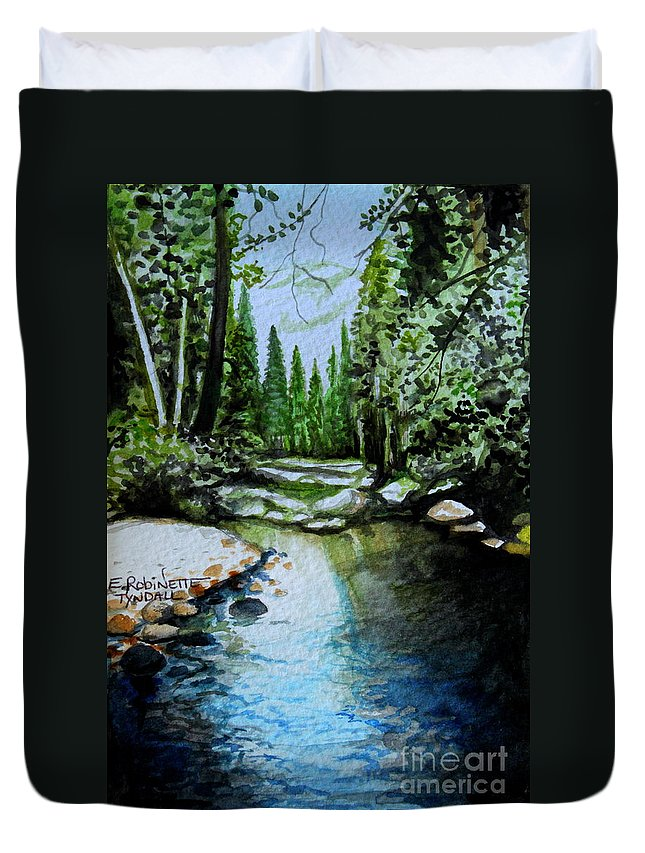 Watercolor Duvet Cover featuring the painting Reflective by Elizabeth Robinette Tyndall