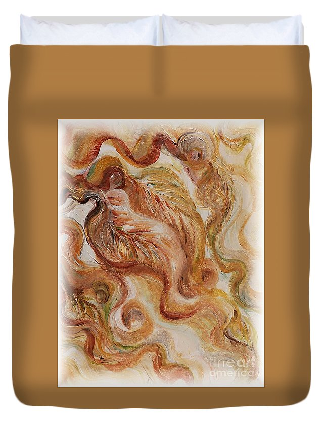 Leaves Duvet Cover featuring the painting Reflective Leaves by Nadine Rippelmeyer