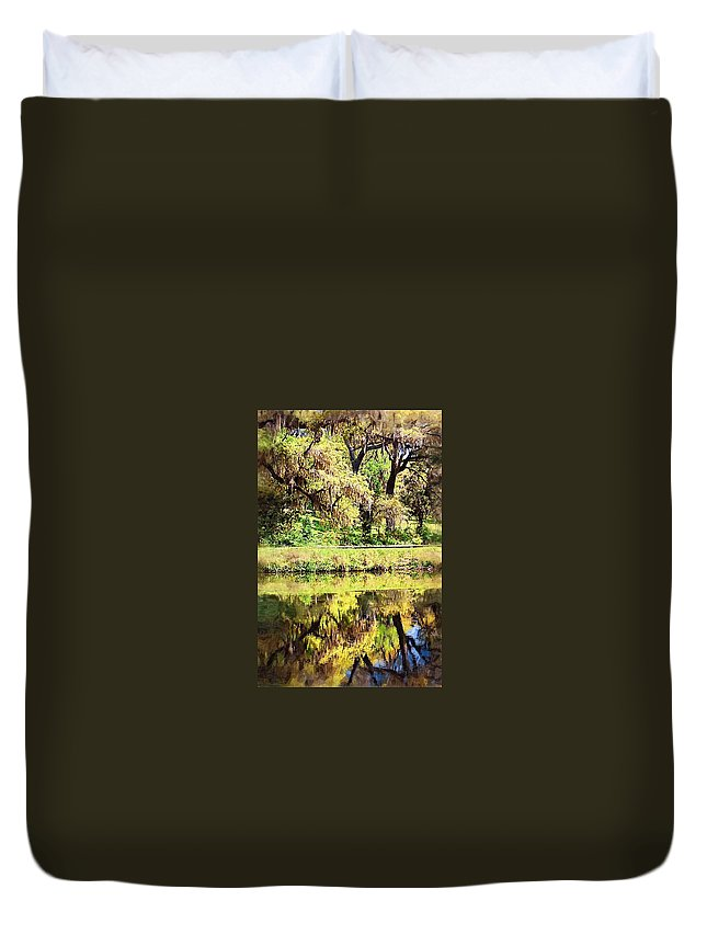Landscape Duvet Cover featuring the photograph Reflective Live Oaks by Donna Bentley