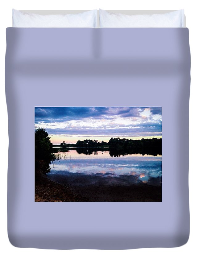 Landscape Duvet Cover featuring the photograph Reflective River by Theresa Nichole