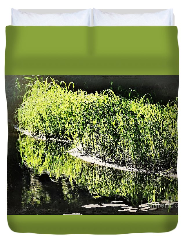 Reflections Duvet Cover featuring the photograph Reflective Shorelines by Diann Fisher