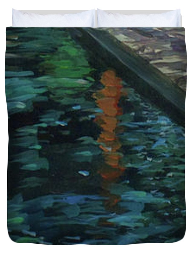 Water Duvet Cover featuring the painting Reflective State by Susan Moore