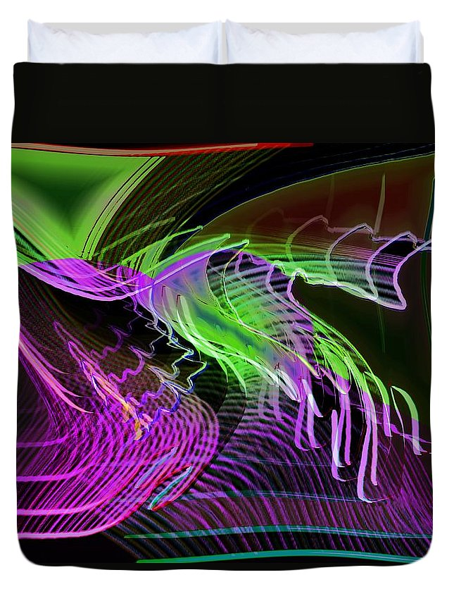 Drawing Duvet Cover featuring the digital art Reflexions Green by Helmut Rottler