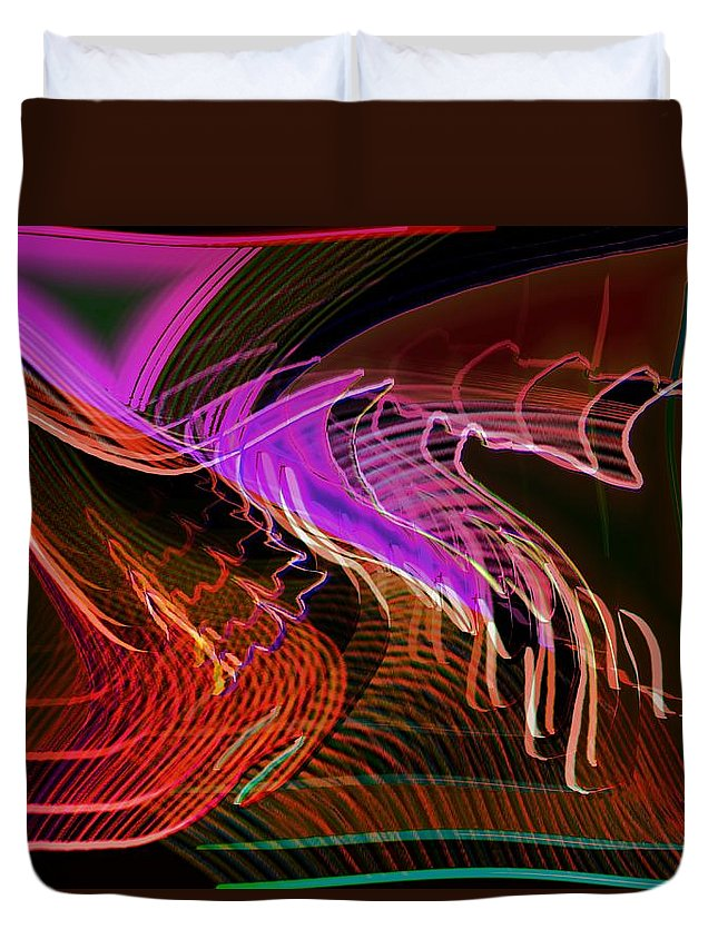Drawing Duvet Cover featuring the digital art Reflexions Red by Helmut Rottler