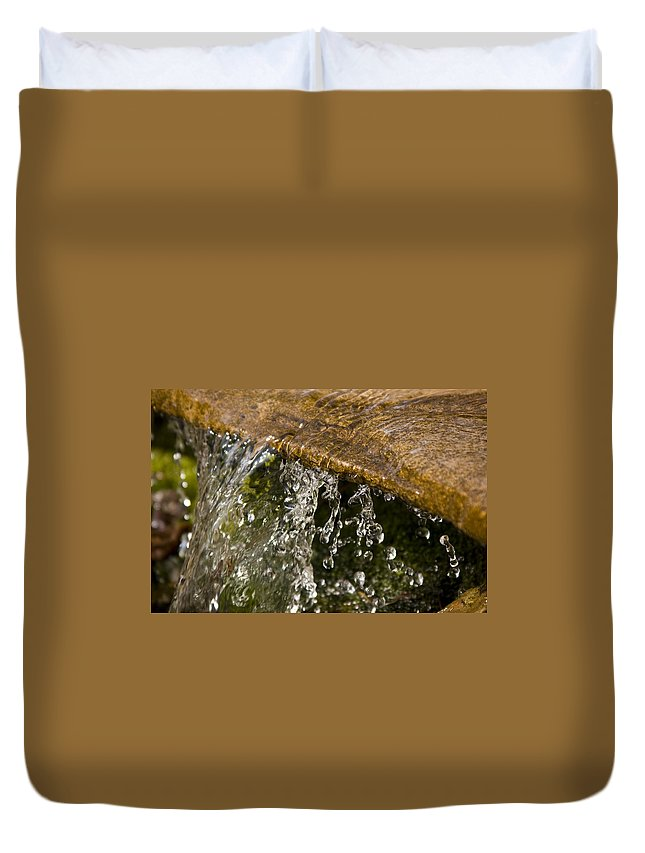 Water Stream Creek Drop Droplet Stone Run Nature Clear Cold Fall Duvet Cover featuring the photograph Refreshment by Andrei Shliakhau
