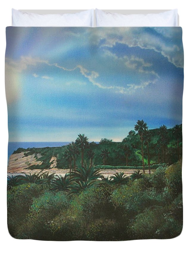 Palm Trees Duvet Cover featuring the painting Refugio Point 4 by Angie Hamlin