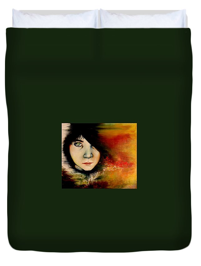 Sunset Duvet Cover featuring the painting Regaining Strenght by Freja Friborg