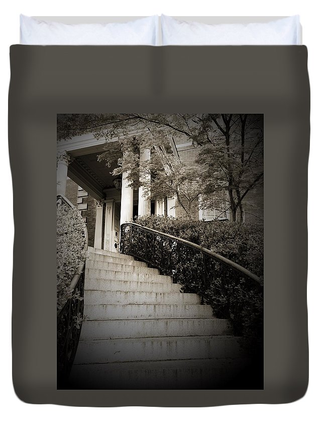 Regal Duvet Cover featuring the photograph Regal Entrance by Denisse Stanbery