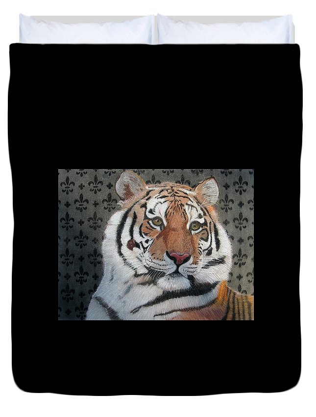 Tiger Duvet Cover featuring the drawing Regal Tiger by Lori Hanks