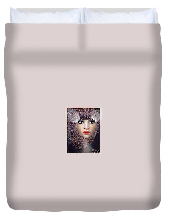 Rouge Duvet Cover featuring the digital art Regard Fatal by Degouges Cindy