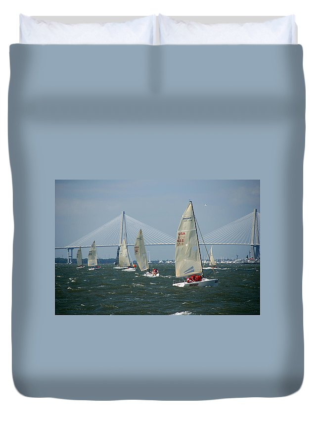 Photography Duvet Cover featuring the photograph Regatta In Charleston Harbor by Susanne Van Hulst