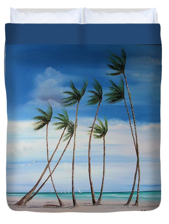 Beaches Duvet Cover featuring the painting Regatta by Maria Mills