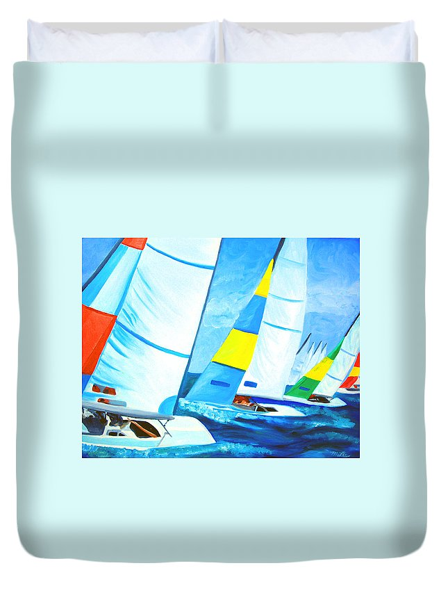 Sailing Duvet Cover featuring the painting Regatta by Michael Lee