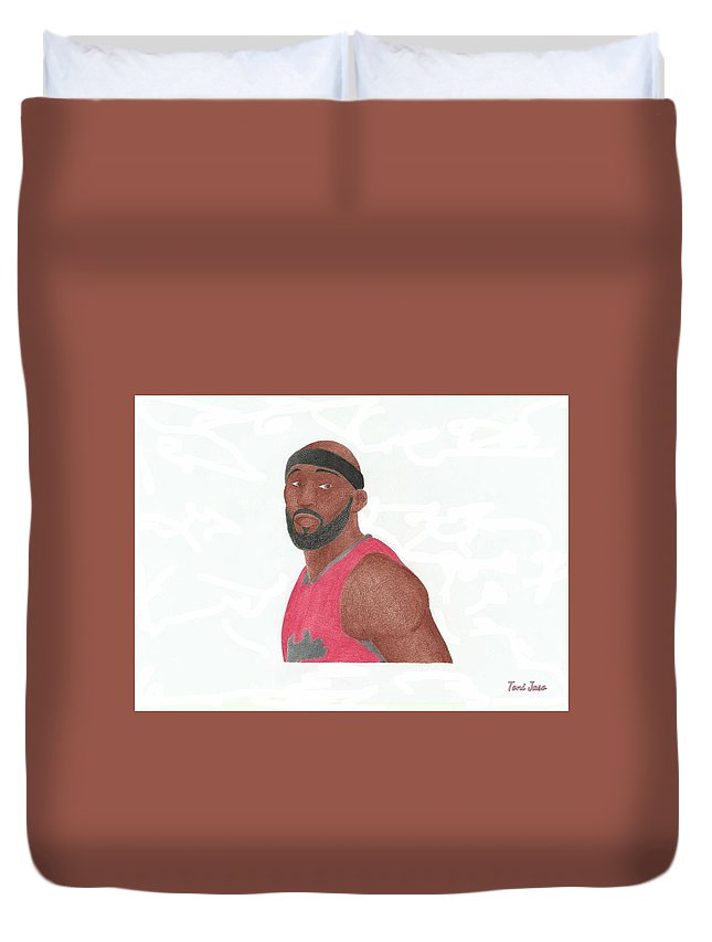 Basketball Duvet Cover featuring the drawing Reggie Evans by Toni Jaso