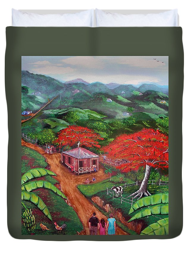 Flamboyan Duvet Cover featuring the painting Regreso Al Campo by Luis F Rodriguez