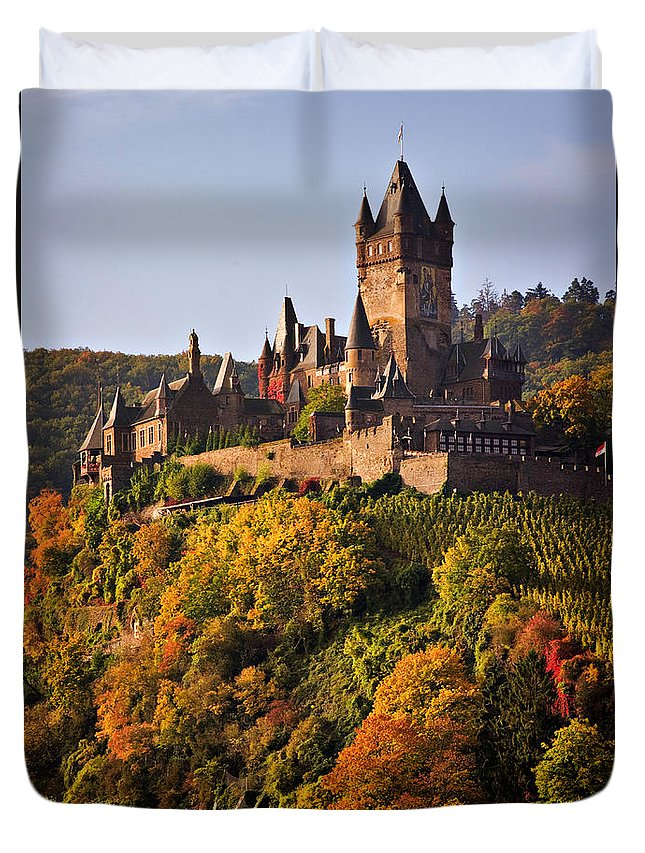 Travel Duvet Cover featuring the photograph Reichsburg Castle by Louise Heusinkveld