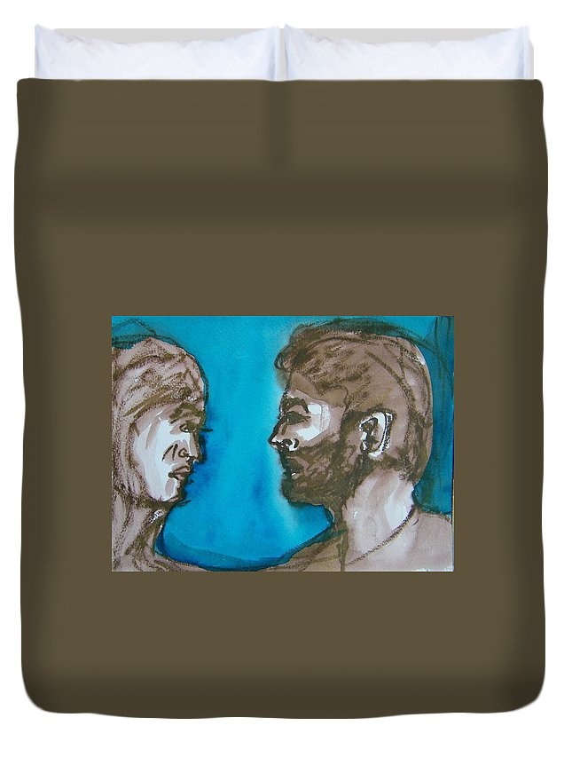 Abstract Duvet Cover featuring the painting Relationship Bully by Judith Redman