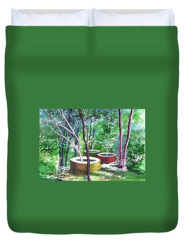 Opaque Landscape Duvet Cover featuring the painting Relax Here by Anil Nene