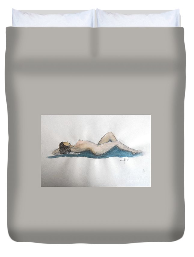 Duvet Cover featuring the painting Relax by Vesna Antic