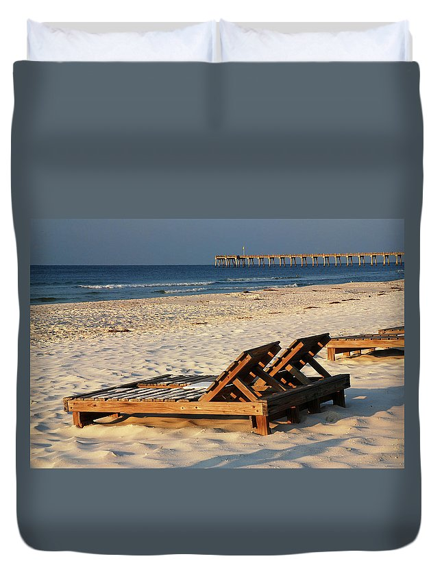 Pensacola Duvet Cover featuring the photograph Relaxing Time by James Kirkikis