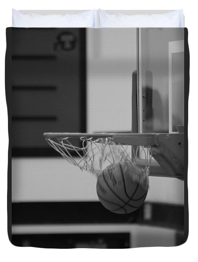 Basketball Duvet Cover featuring the photograph Release From The Net by Laddie Halupa