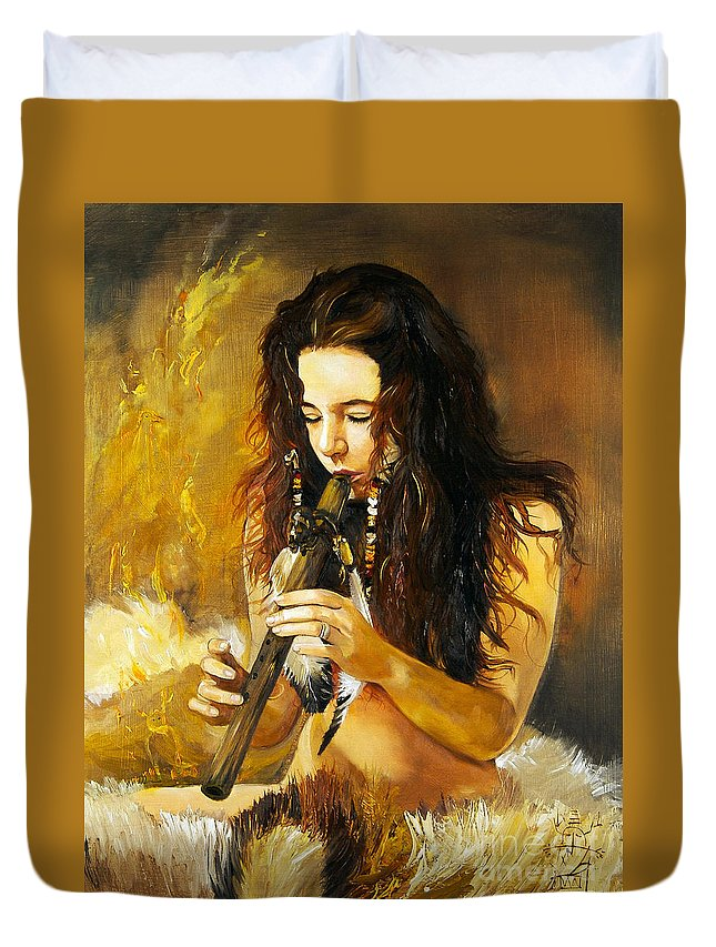 Woman Duvet Cover featuring the painting Release by J W Baker