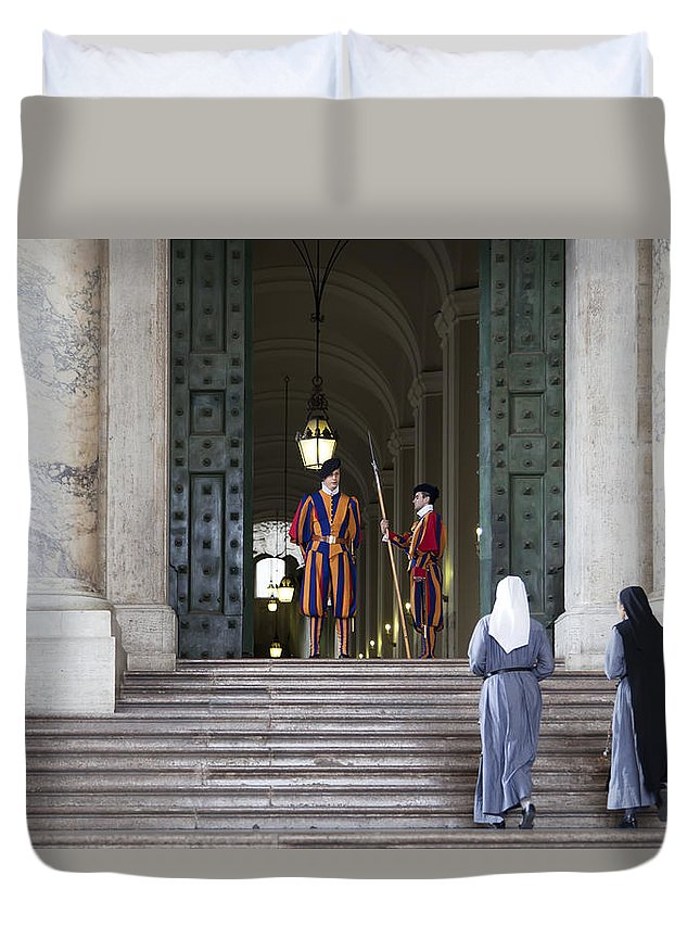 Italy Duvet Cover featuring the photograph Religious Visit by Janet Fikar