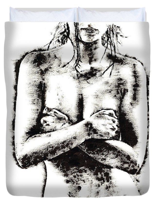 Nude Duvet Cover featuring the painting Reluctance by Richard Young