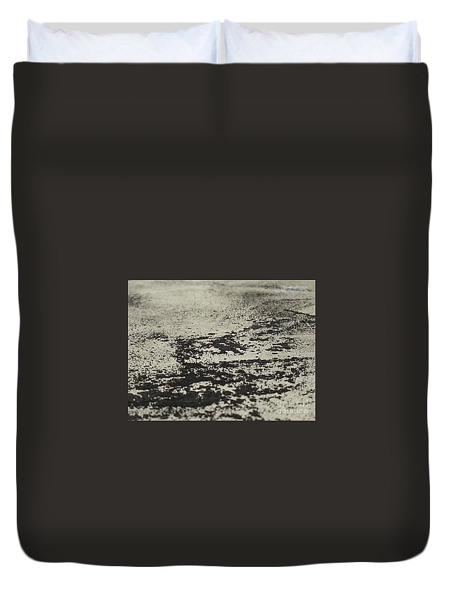 Art Duvet Cover featuring the mixed media Remains 5 by Nour Refaat
